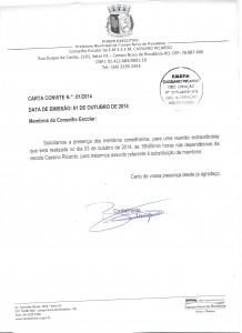 Solicitamos a presença dos membros conselheiros, para uma reunião extraordinária que será realizada no dia 03 de outubro de 2014, às 19h00min horas nas dependências da escola Cassino Ricardo, para tratarmos assunto referente à substituição de membros.